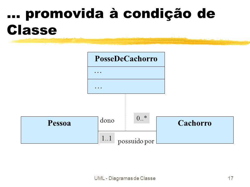 UML - Diagramas de Classe17 … promovida à condição de Classe PosseDeCachorro PessoaCachorro … … dono possuido por 0..* 1..1