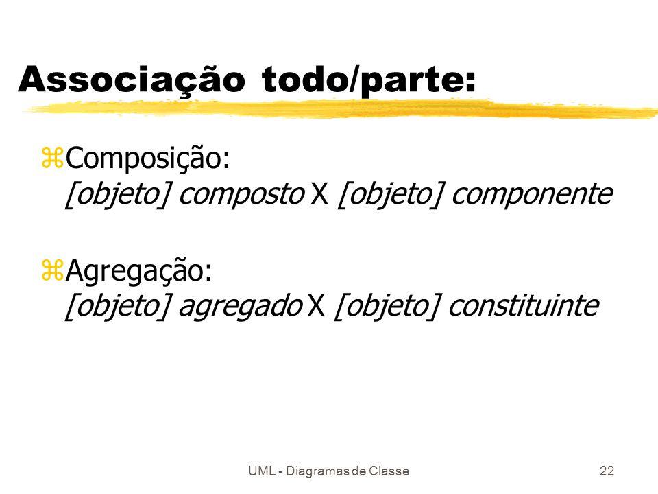 UML - Diagramas de Classe22 Associação todo/parte: zComposição: [objeto] composto X [objeto] componente zAgregação: [objeto] agregado X [objeto] constituinte