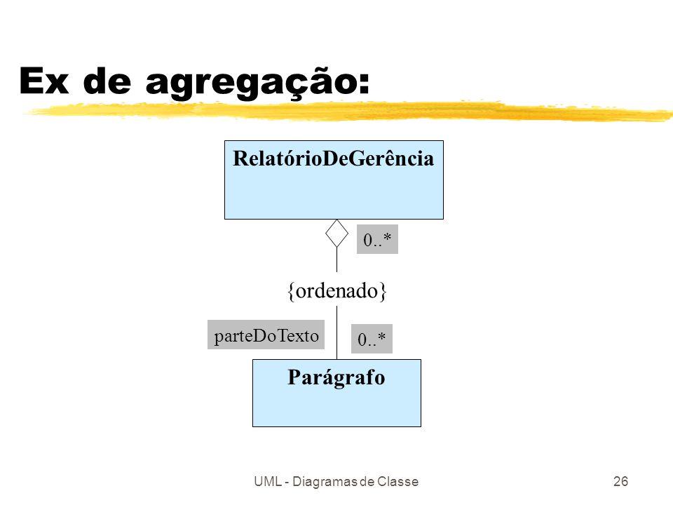UML - Diagramas de Classe26 Ex de agregação: RelatórioDeGerência Parágrafo parteDoTexto 0..* {ordenado}