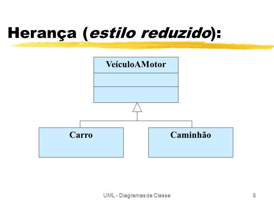 UML - Diagramas de Classe5 Herança (estilo reduzido): VeículoAMotor CarroCaminhão
