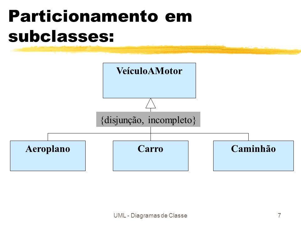 UML - Diagramas de Classe7 Particionamento em subclasses: VeículoAMotor CarroCaminhãoAeroplano {disjunção, incompleto}