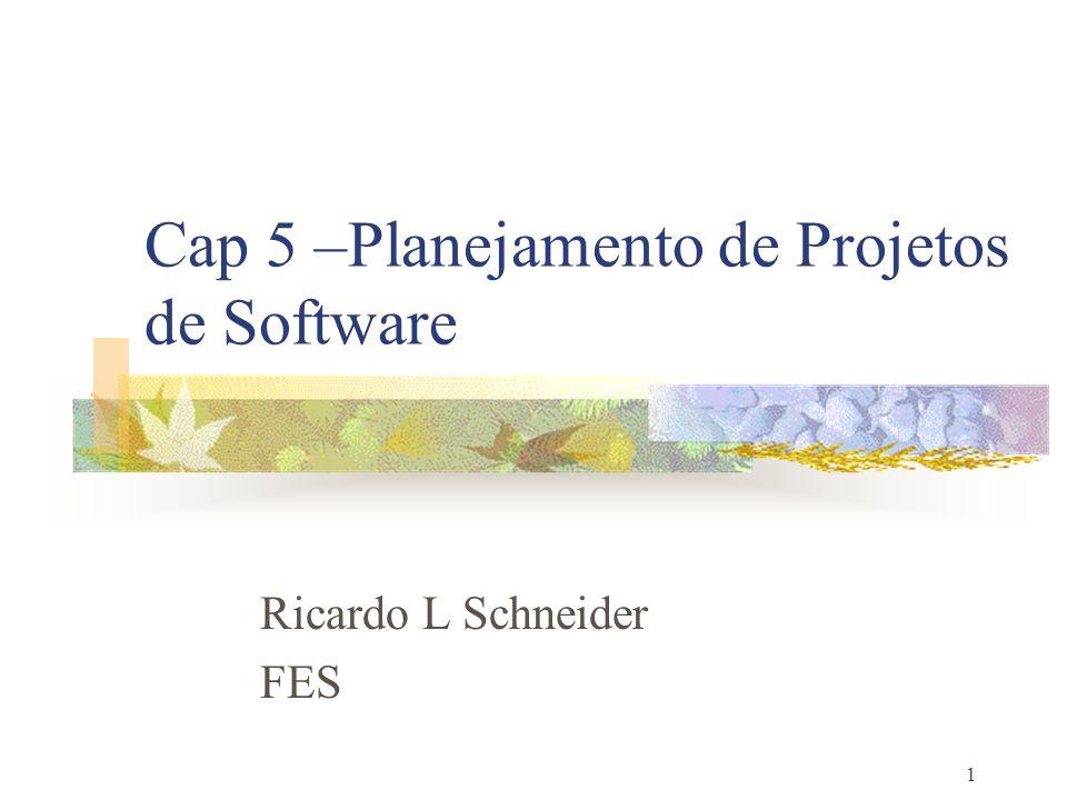 1 Cap 5 –Planejamento de Projetos de Software Ricardo L Schneider FES