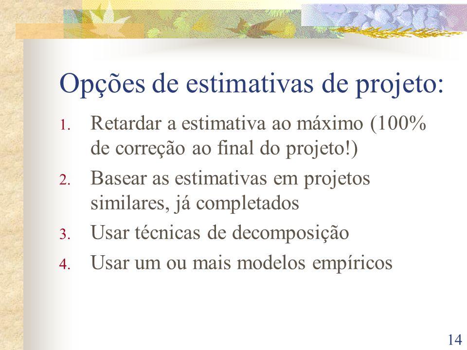 14 Opções de estimativas de projeto: 1. Retardar a estimativa ao máximo (100% de correção ao final do projeto!) 2. Basear as estimativas em projetos s