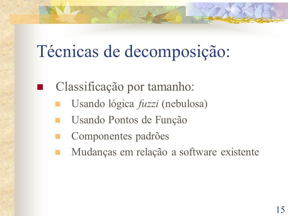 15 Técnicas de decomposição: Classificação por tamanho: Usando lógica fuzzi (nebulosa) Usando Pontos de Função Componentes padrões Mudanças em relação a software existente