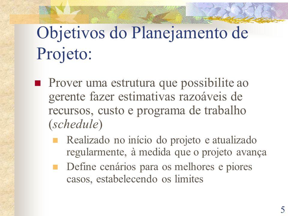 5 Objetivos do Planejamento de Projeto: Prover uma estrutura que possibilite ao gerente fazer estimativas razoáveis de recursos, custo e programa de t