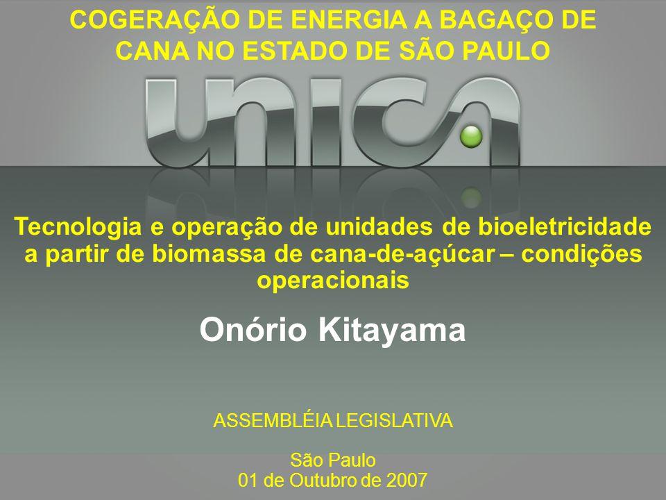 ASSEMBLÉIA LEGISLATIVA São Paulo 01 de Outubro de 2007 Onório Kitayama Tecnologia e operação de unidades de bioeletricidade a partir de biomassa de ca