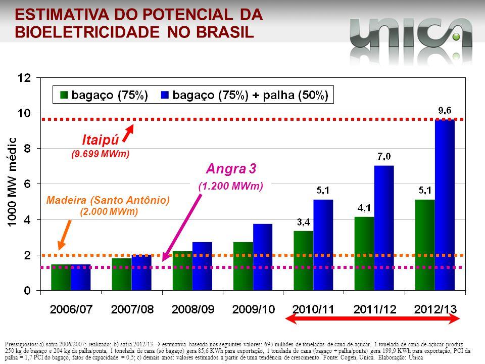 Madeira (Santo Antônio) (2.000 MWm) Itaipú (9.699 MWm) Angra 3 (1.200 MWm) ESTIMATIVA DO POTENCIAL DA BIOELETRICIDADE NO BRASIL Pressupostos: a) safra