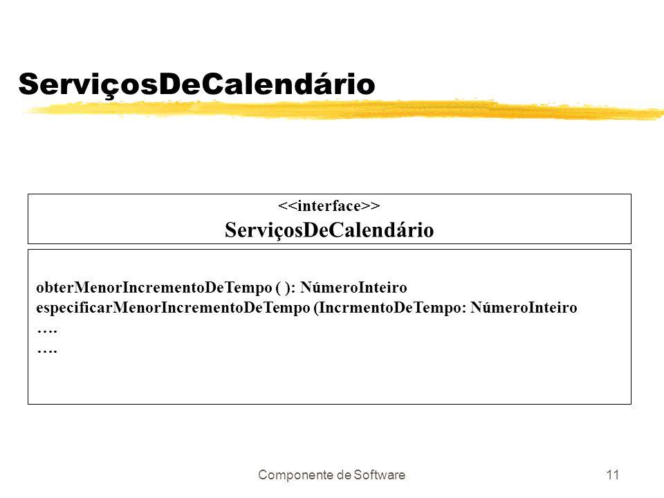 Componente de Software11 ServiçosDeCalendário > ServiçosDeCalendário obterMenorIncrementoDeTempo ( ): NúmeroInteiro especificarMenorIncrementoDeTempo (IncrmentoDeTempo: NúmeroInteiro ….