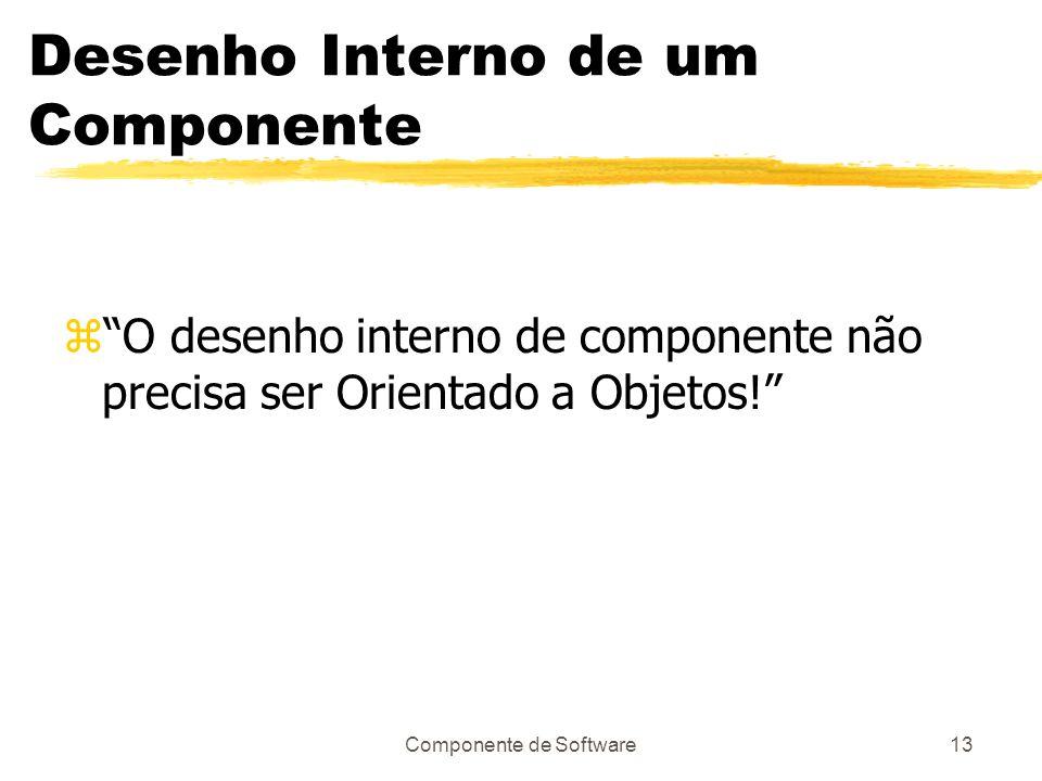 Componente de Software13 Desenho Interno de um Componente zO desenho interno de componente não precisa ser Orientado a Objetos!