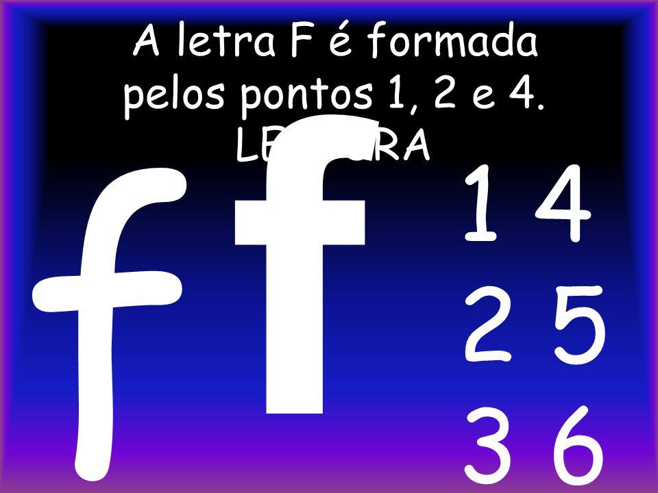 A letra F é formada pelos pontos 1, 2 e 4. LEITURA f f 1 4 2 5 3 6