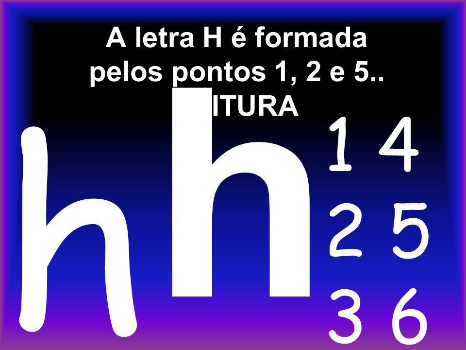 A letra H é formada pelos pontos 1, 2 e 5.. LEITURA h h 1 4 2 5 3 6