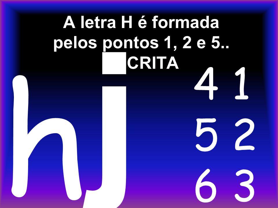 A letra H é formada pelos pontos 1, 2 e 5.. ESCRITA j h 4 1 5 2 6 3