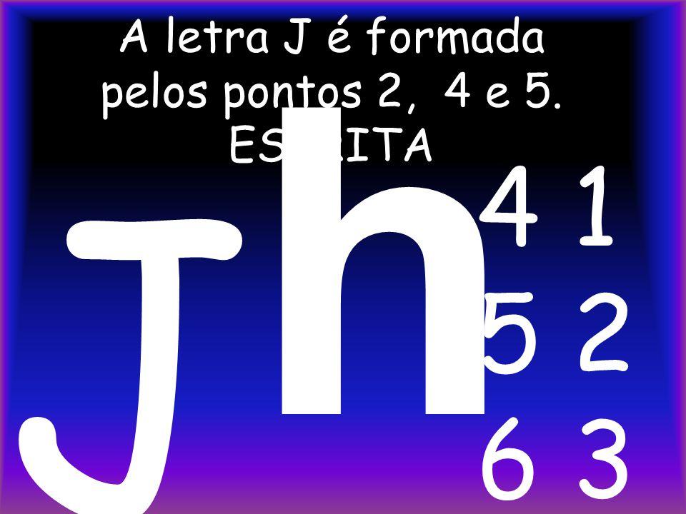 A letra J é formada pelos pontos 2, 4 e 5. ESCRITA h J 4 1 5 2 6 3