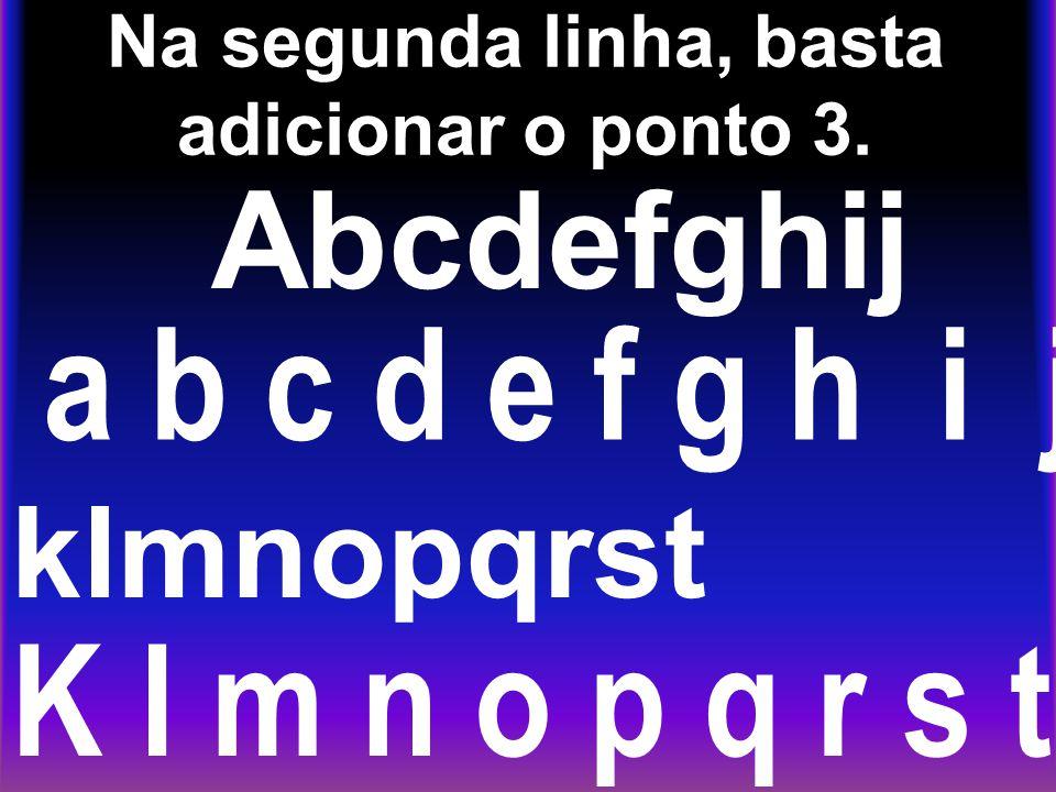 Na segunda linha, basta adicionar o ponto 3. Abcdefghij a b c d e f g h i j klmnopqrst K l m n o p q r s t