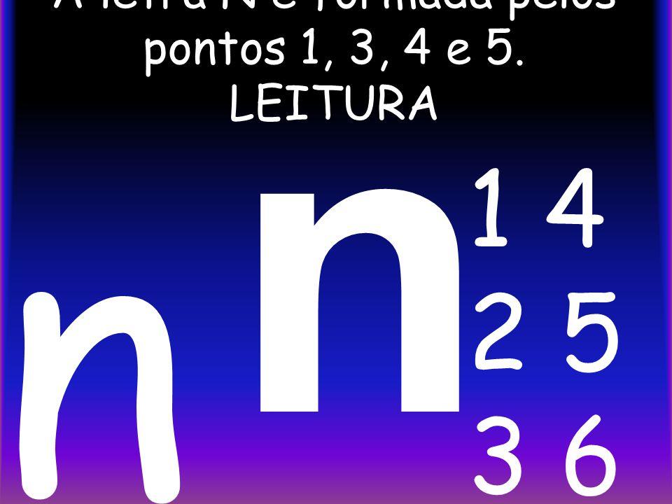 A letra N é formada pelos pontos 1, 3, 4 e 5. LEITURA n n 1 4 2 5 3 6