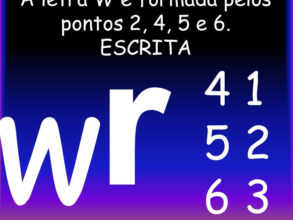 A letra W é formada pelos pontos 2, 4, 5 e 6. ESCRITA r w 4 1 5 2 6 3