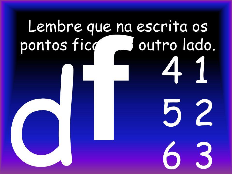 A letra E é formada pelos pontos 1 e 5. MODO LEITURA e e 1 4 2 5 3 6