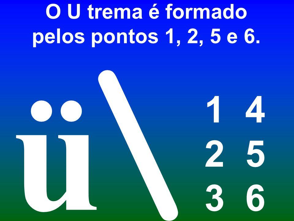 O U trema é formado pelos pontos 1, 2, 5 e 6. 1 4 2 5 3 6 \ ü