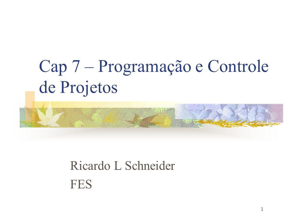 1 Cap 7 – Programação e Controle de Projetos Ricardo L Schneider FES