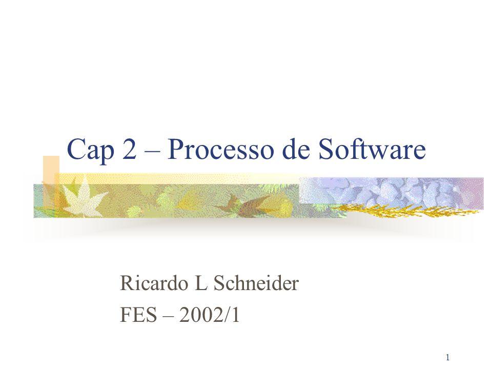 1 Cap 2 – Processo de Software Ricardo L Schneider FES – 2002/1