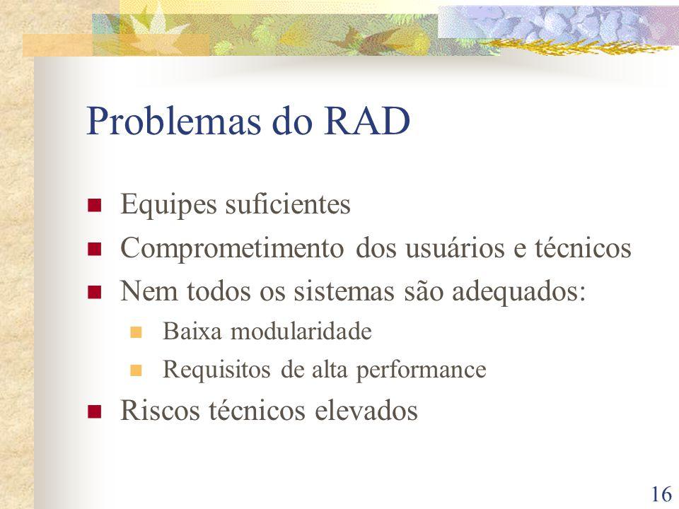 16 Problemas do RAD Equipes suficientes Comprometimento dos usuários e técnicos Nem todos os sistemas são adequados: Baixa modularidade Requisitos de alta performance Riscos técnicos elevados