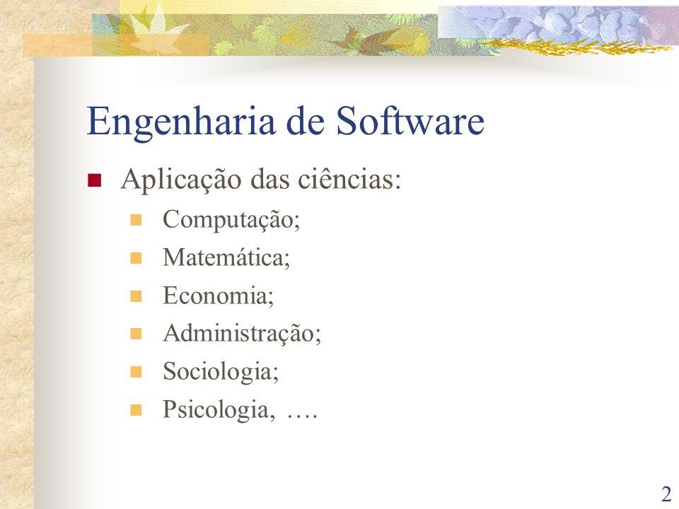 2 Engenharia de Software Aplicação das ciências: Computação; Matemática; Economia; Administração; Sociologia; Psicologia, ….