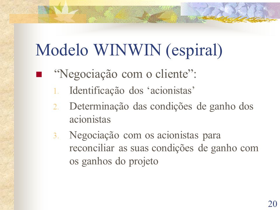 20 Modelo WINWIN (espiral) Negociação com o cliente: 1.