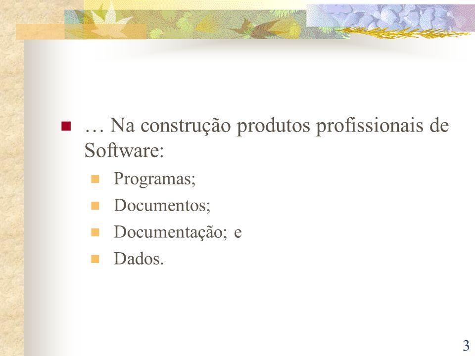 3 … Na construção produtos profissionais de Software: Programas; Documentos; Documentação; e Dados.