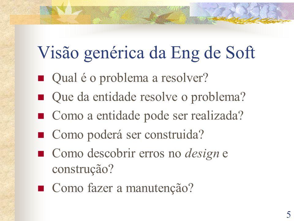 5 Visão genérica da Eng de Soft Qual é o problema a resolver.