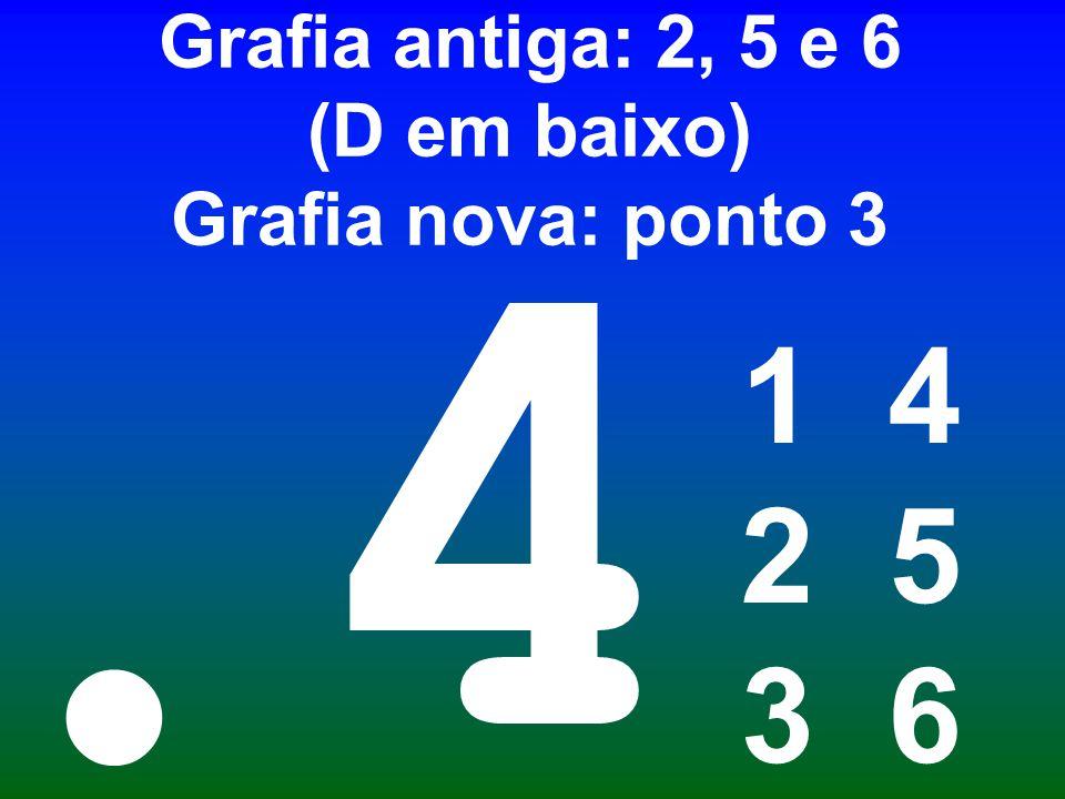 Ponto final Grafia antiga: 2, 5 e 6 (D em baixo) Grafia nova: ponto 3 1 4 2 5 3 6 4.