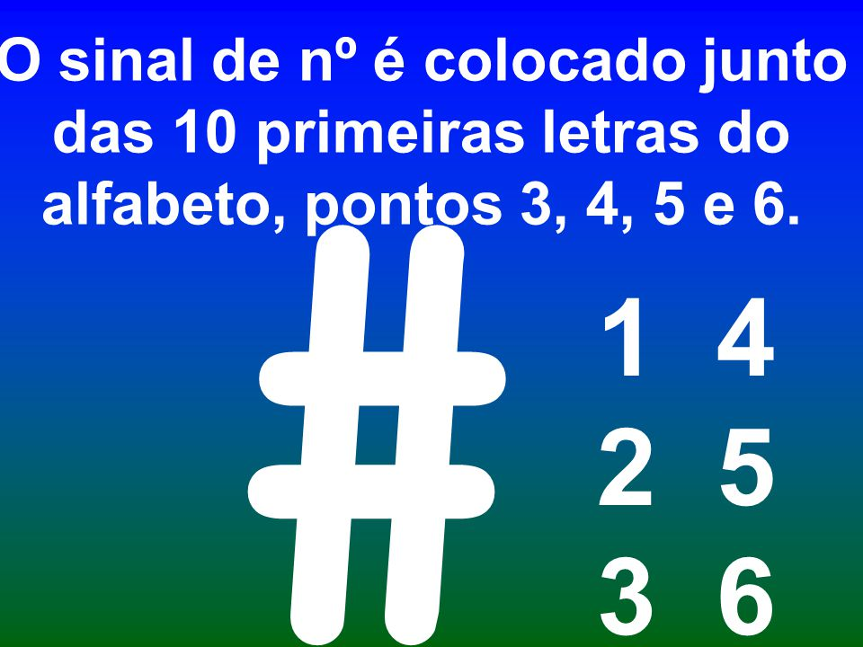 O sinal de nº é colocado junto das 10 primeiras letras do alfabeto, pontos 3, 4, 5 e 6. 1 4 2 5 3 6 #