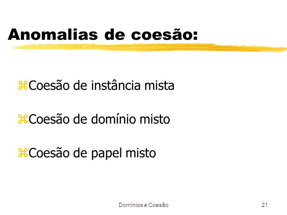 Domínios e Coesão21 Anomalias de coesão: zCoesão de instância mista zCoesão de domínio misto zCoesão de papel misto
