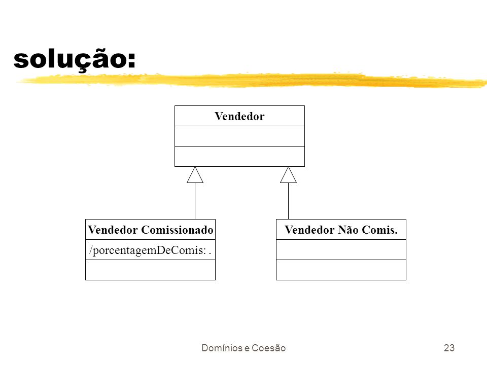 Domínios e Coesão23 solução: Vendedor Vendedor Comissionado /porcentagemDeComis:. Vendedor Não Comis.