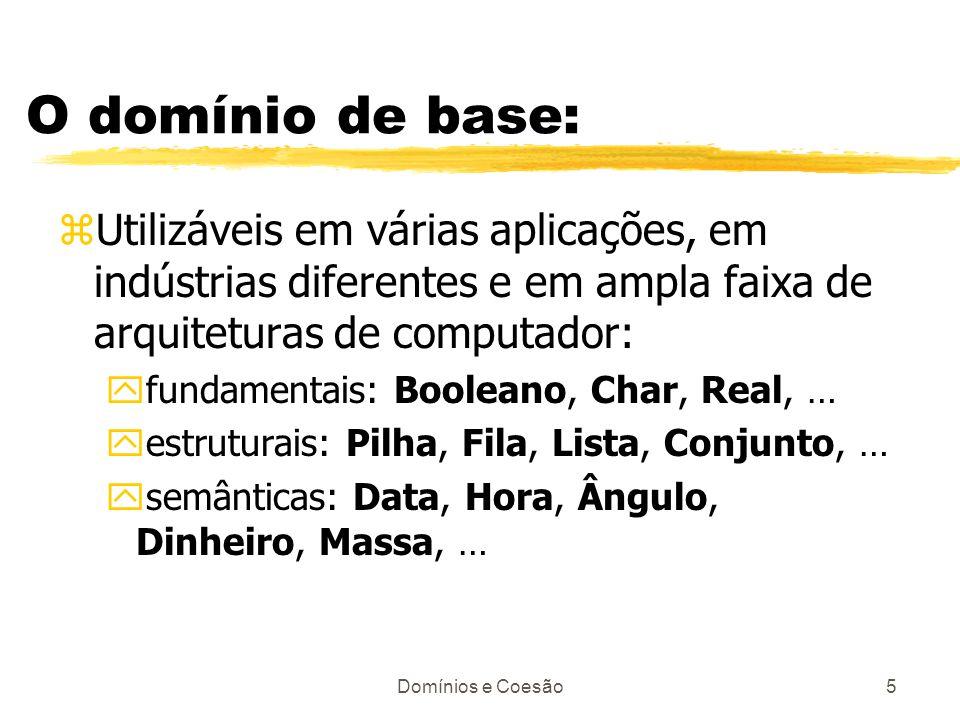 Domínios e Coesão5 O domínio de base: zUtilizáveis em várias aplicações, em indústrias diferentes e em ampla faixa de arquiteturas de computador: yfun