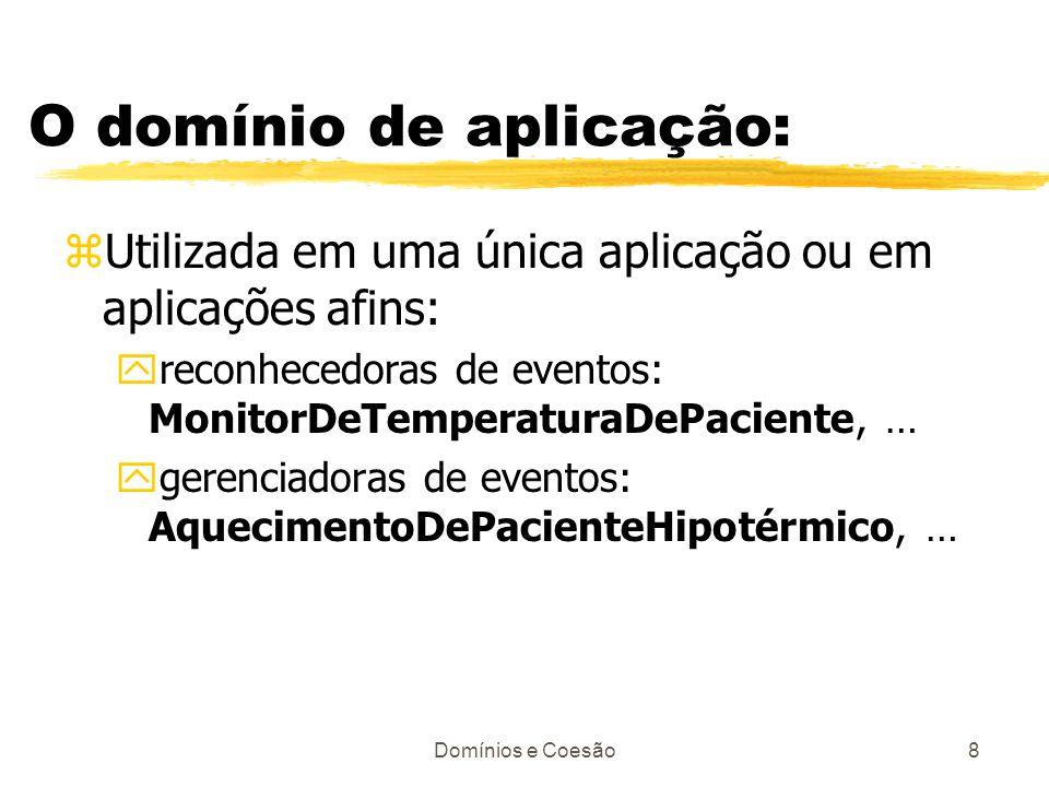 Domínios e Coesão8 O domínio de aplicação: zUtilizada em uma única aplicação ou em aplicações afins: yreconhecedoras de eventos: MonitorDeTemperaturaD