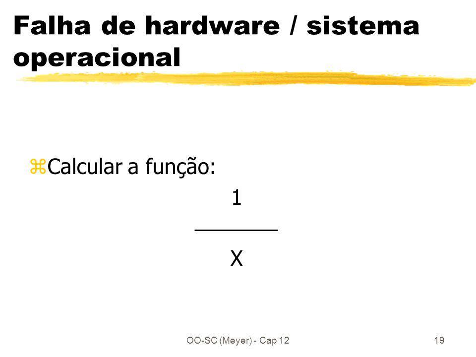 OO-SC (Meyer) - Cap 1219 Falha de hardware / sistema operacional zCalcular a função: 1 X