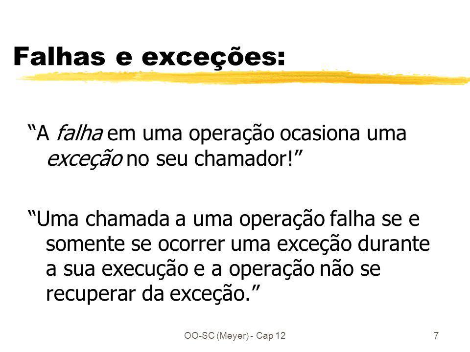OO-SC (Meyer) - Cap 127 Falhas e exceções: A falha em uma operação ocasiona uma exceção no seu chamador! Uma chamada a uma operação falha se e somente