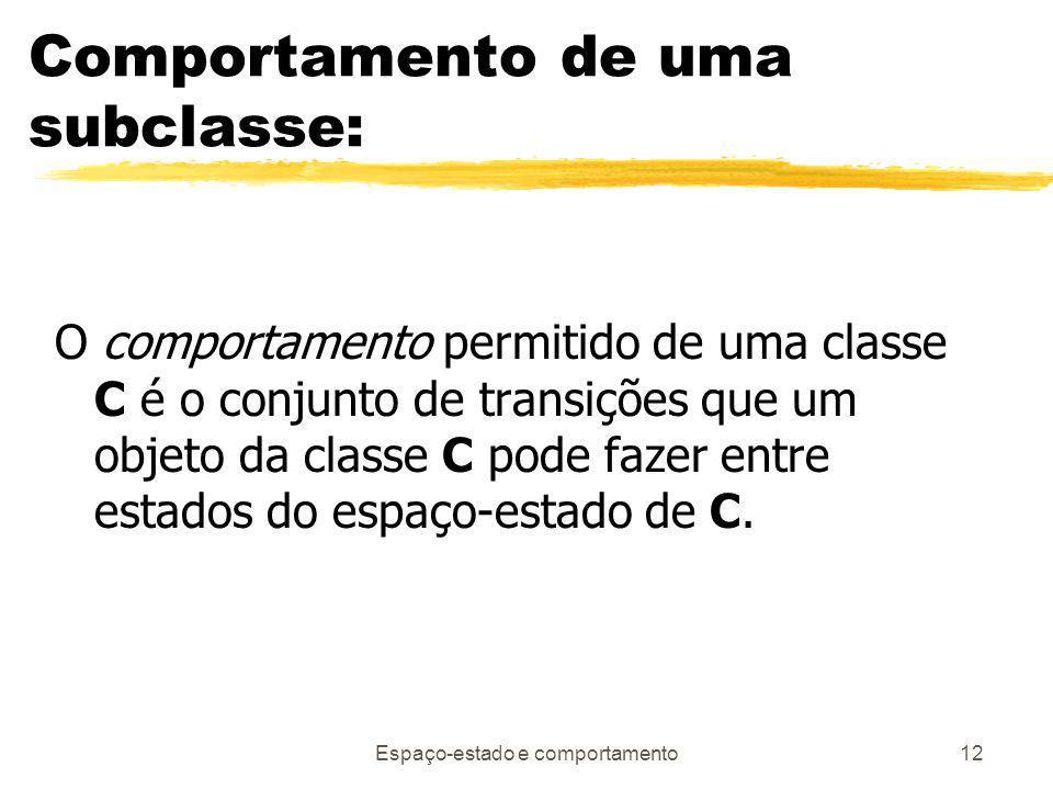 Espaço-estado e comportamento12 Comportamento de uma subclasse: O comportamento permitido de uma classe C é o conjunto de transições que um objeto da classe C pode fazer entre estados do espaço-estado de C.