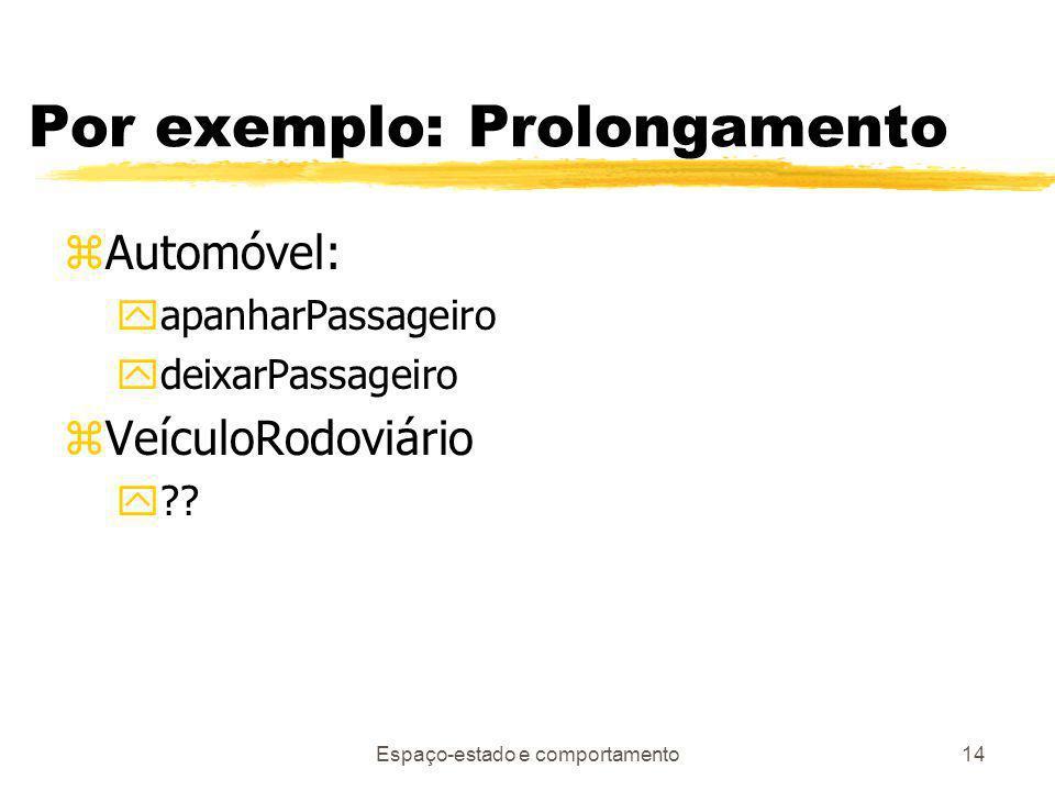 Espaço-estado e comportamento14 Por exemplo: Prolongamento zAutomóvel: yapanharPassageiro ydeixarPassageiro zVeículoRodoviário y??
