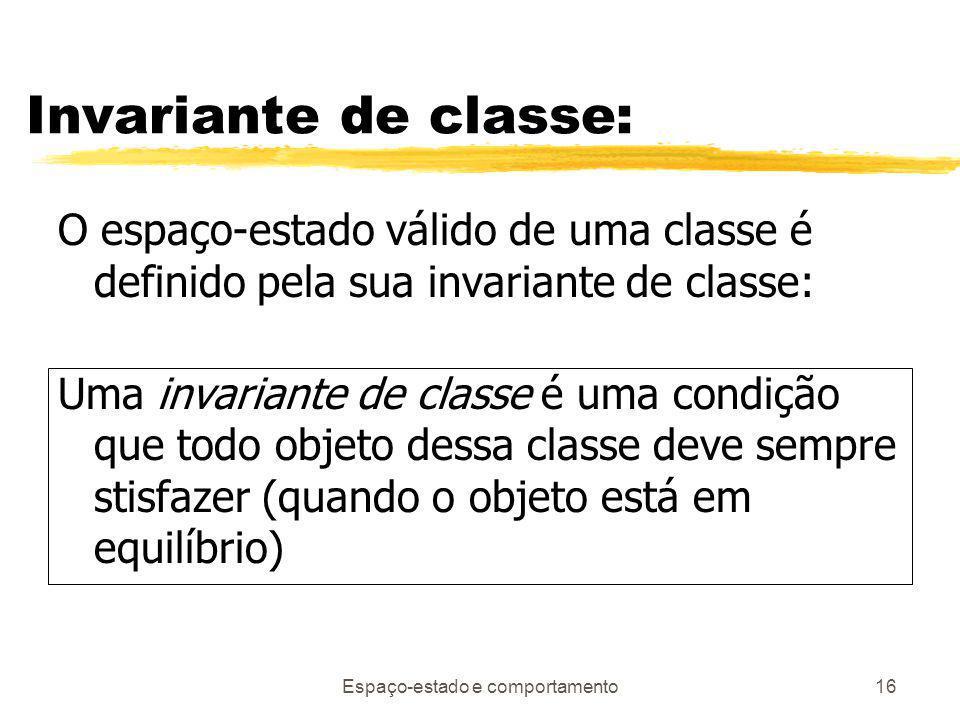 Espaço-estado e comportamento16 Invariante de classe: O espaço-estado válido de uma classe é definido pela sua invariante de classe: Uma invariante de classe é uma condição que todo objeto dessa classe deve sempre stisfazer (quando o objeto está em equilíbrio)