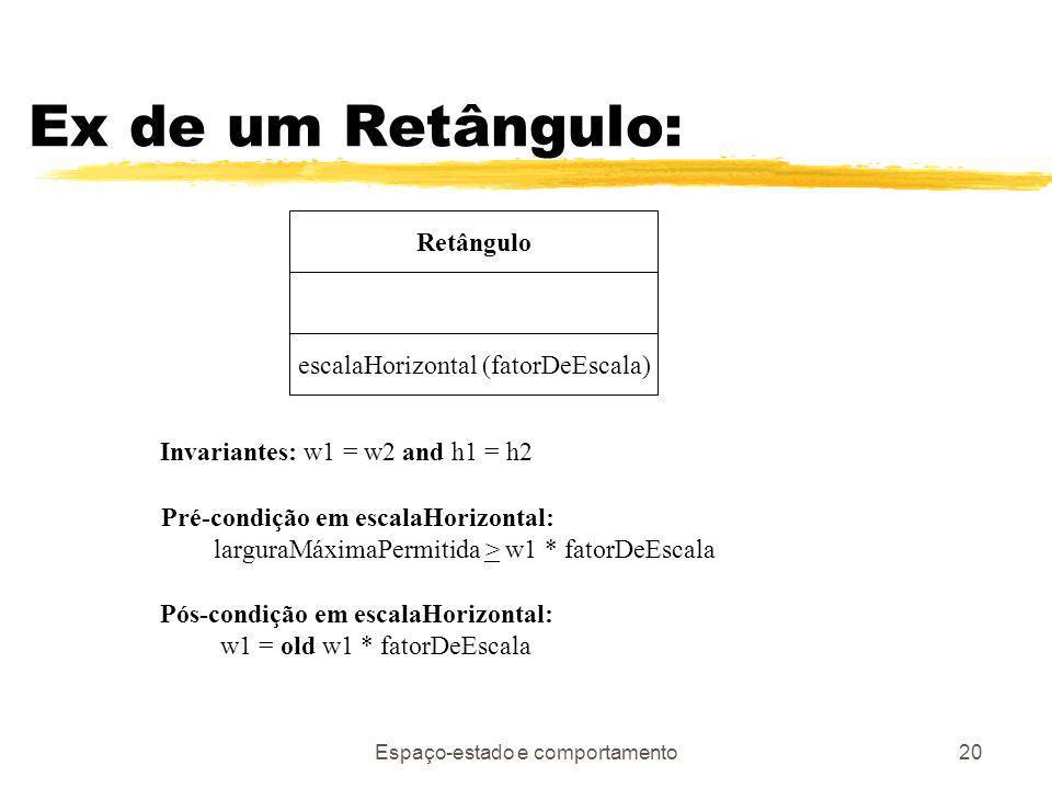 Espaço-estado e comportamento20 Ex de um Retângulo: Retângulo escalaHorizontal (fatorDeEscala) Invariantes: w1 = w2 and h1 = h2 Pré-condição em escalaHorizontal: larguraMáximaPermitida > w1 * fatorDeEscala Pós-condição em escalaHorizontal: w1 = old w1 * fatorDeEscala