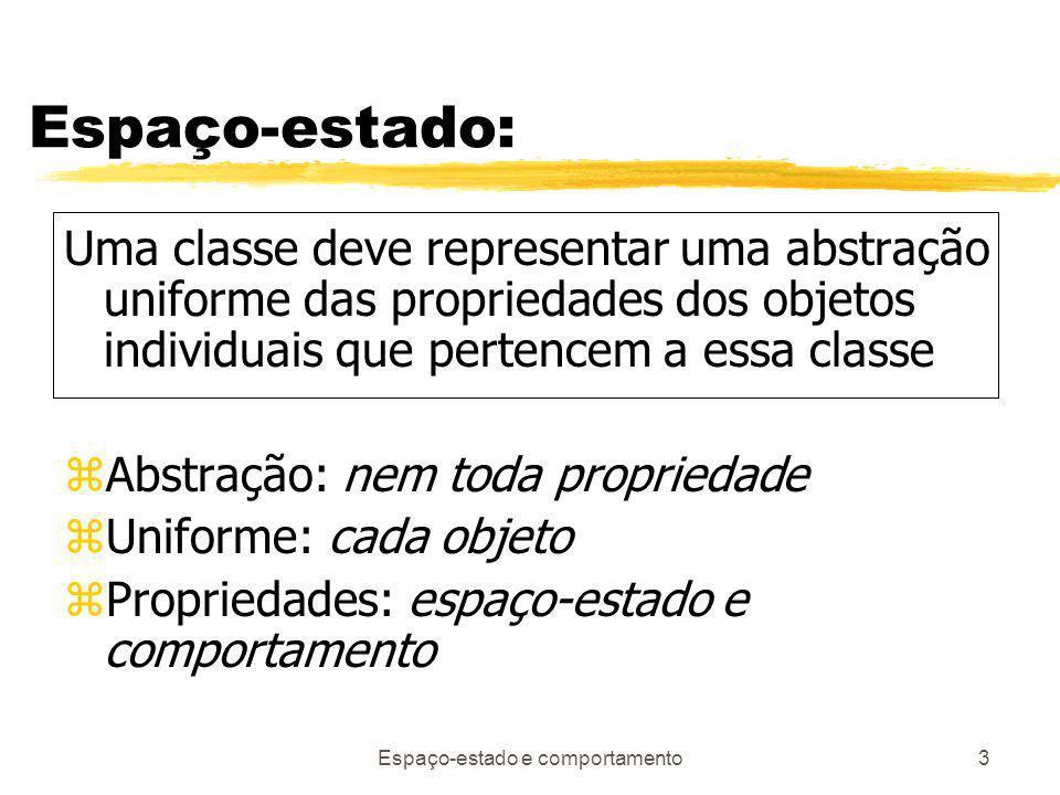 Espaço-estado e comportamento3 Espaço-estado: Uma classe deve representar uma abstração uniforme das propriedades dos objetos individuais que pertencem a essa classe zAbstração: nem toda propriedade zUniforme: cada objeto zPropriedades: espaço-estado e comportamento
