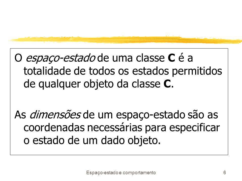 Espaço-estado e comportamento6 O espaço-estado de uma classe C é a totalidade de todos os estados permitidos de qualquer objeto da classe C.