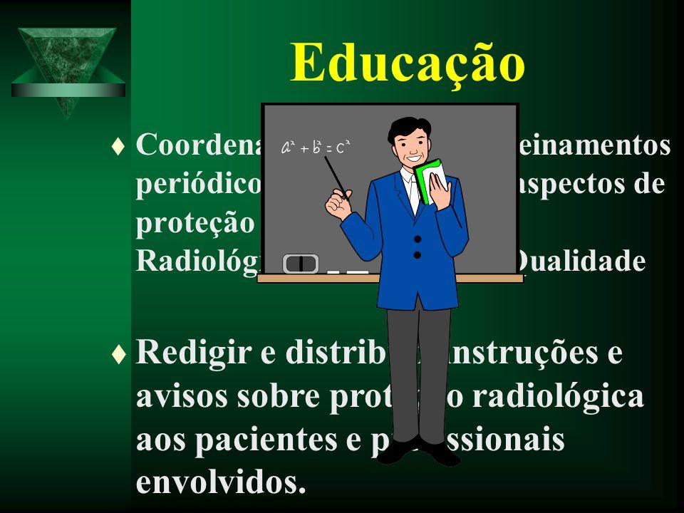 t Coordenar programas de treinamentos periódicos da equipe sobre aspectos de proteção radiológica, Física Radiológica e Garantia de Qualidade Educação