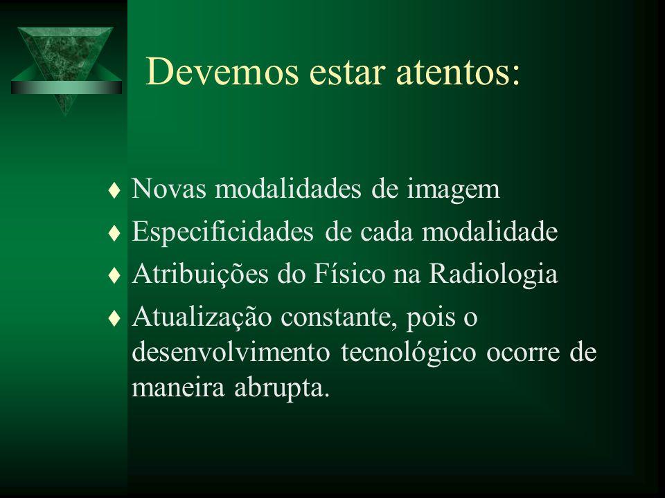 t Novas modalidades de imagem t Especificidades de cada modalidade t Atribuições do Físico na Radiologia t Atualização constante, pois o desenvolvimen