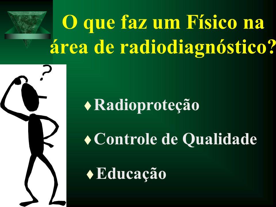 O que faz um Físico na área de radiodiagnóstico? t Radioproteção t Controle de Qualidade t Educação