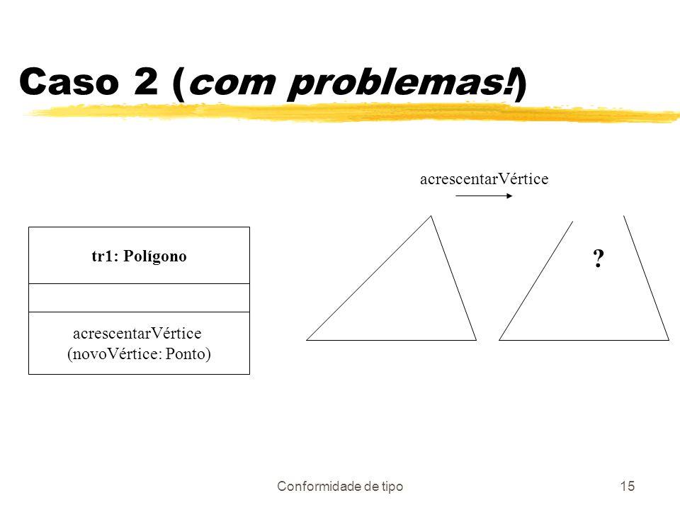 Conformidade de tipo15 Caso 2 (com problemas!) tr1: Polígono acrescentarVértice (novoVértice: Ponto) acrescentarVértice ?