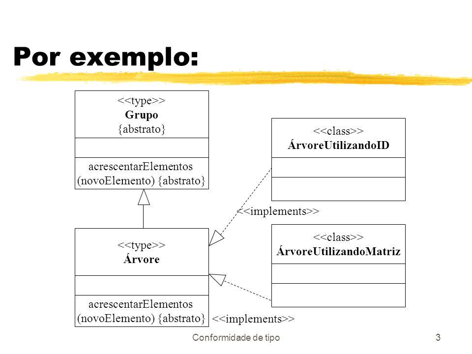 Conformidade de tipo3 Por exemplo: > Grupo {abstrato} acrescentarElementos (novoElemento) {abstrato} > Árvore acrescentarElementos (novoElemento) {abs