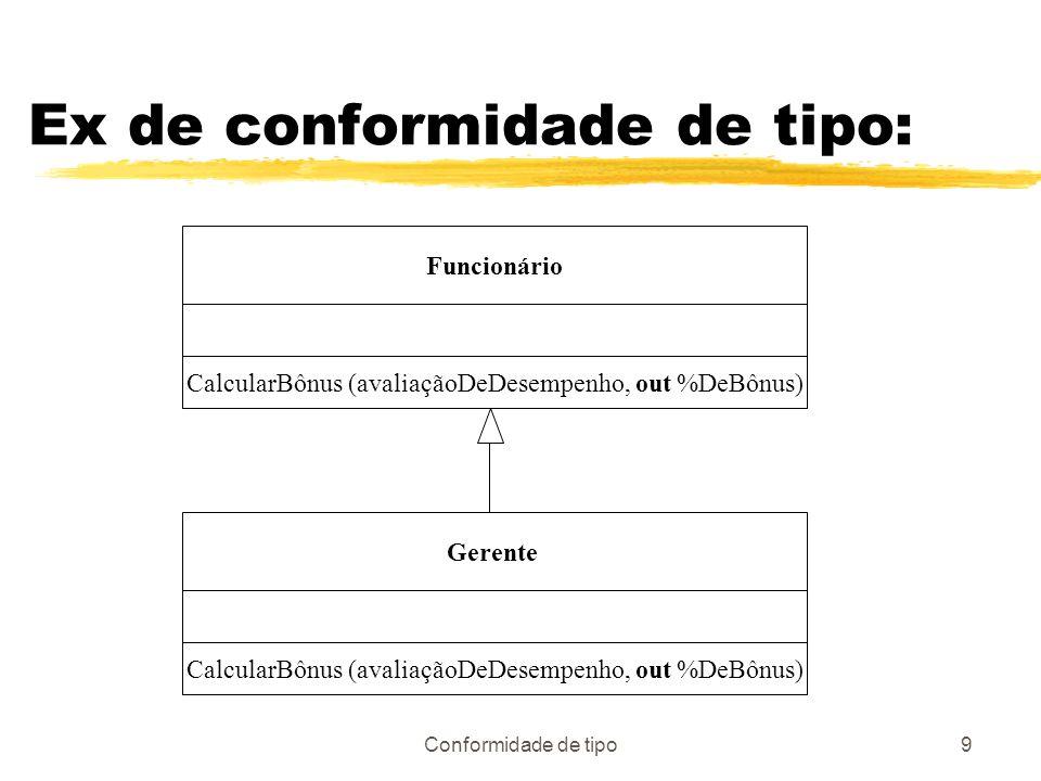 Conformidade de tipo9 Ex de conformidade de tipo: Funcionário CalcularBônus (avaliaçãoDeDesempenho, out %DeBônus) Gerente CalcularBônus (avaliaçãoDeDe