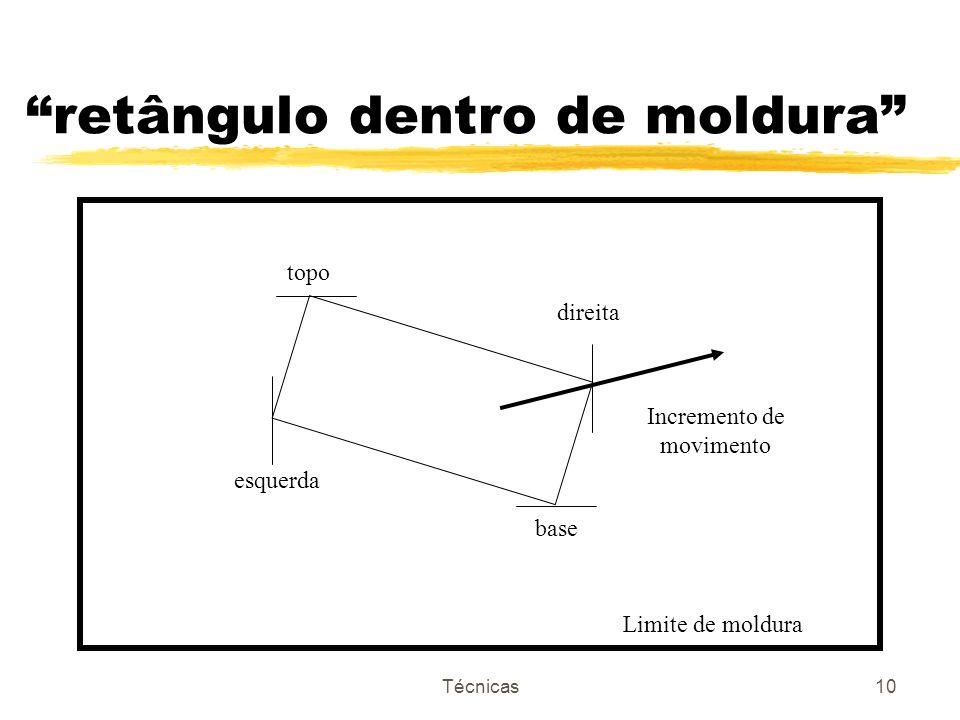 Técnicas10 retângulo dentro de moldura topo esquerda direita base Incremento de movimento Limite de moldura